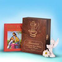 Biblia w drewnianym pudełku- pamiątka chrztu świętego marki Specially4u