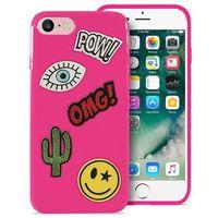 Etui PURO Patch Mania do iPhone 7 w zestawie 5 naklejek Różowy, kolor różowy
