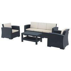 Zestaw mebli ogrodowych z technorattanu Monaco  3 os. + 2 fotele + stolik szary z kategorii sofy