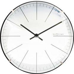 Nextime Zegar ścienny / stojący big stripe mini dome 20 cm, biały (3506 wi)