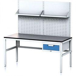 Stół warsztatowy MECHANIC II z panelem perforowanym i półkami, 1600 x 700 x 745-985 mm, 1 kontener szufladowy, szary/niebieski