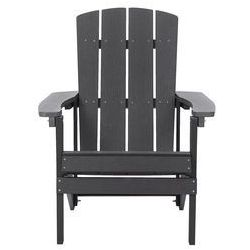 Beliani Krzesło ogrodowe ciemnoszare adirondack (4251682202473)