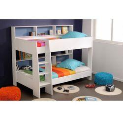 Vente-unique Łóżko piętrowe lenny - 2 × 90 × 200 cm - półki - dwustronne plecy niebieskie lub różowe