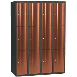 Ekskluzywne szafy osobiste 4x3 schowki Kolor drzwi: Miedziany metalizowany