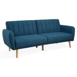 3-osobowa rozkładana kanapa z tkaniny venlo - kolor: niebieski marki Vente-unique