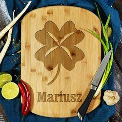 Koniczyna - deska do krojenia z grawerem - deska bambusowa marki Mygiftdna