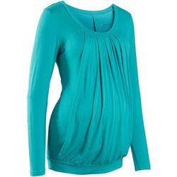 Bonprix Shirt ciążowy i do karmienia piersią, do noszenia również po porodzie  matowy turkusowy