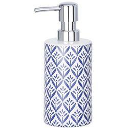 Dekoracyjny dozownik do mydła, z pompką, ornament, pojemnik na mydło,kolor biały, ceramiczny, 360 ml pojemności