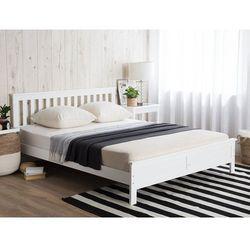 Łóżko drewniane białe ze stelażem 180 x 200 cm mayenne marki Beliani