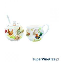 Cukiernica z łyżeczką + mlecznik do kawy Nuova R2S Romantic kurnik