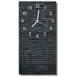Zegar Szklany Pionowy Natura Kamienie cegły czarny