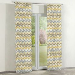 Dekoria zasłony panelowe 2 szt., żółto-szaro-brązowe zygzaki na białym tle, 60 x 260 cm, acapulco