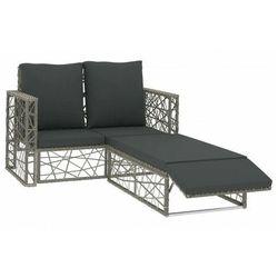 vidaXL 2-cz. zestaw wypoczynkowy do ogrodu, poduszki, rattan PE, szary, vidaxl_46812