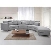 Półokrągła sofa tapicerowana - jasnoszara - tkanina obiciowa - ROTUNDE
