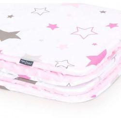 Mamo-tato Kocyk minky dla niemowląt i dzieci 75x100 - gwiazdozbiór różowy - jasny róż