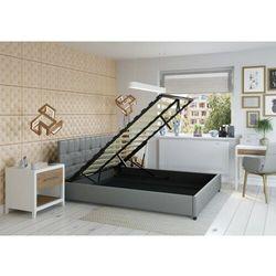 Łóżko 180x200 tapicerowane modena + pojemnik ekoskóra szare marki Big meble
