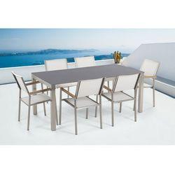 Beliani Zestaw ogrodowy szary ceramiczny blat 180 cm 6 białych krzeseł grosseto
