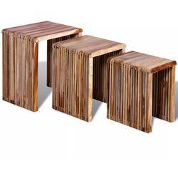 Vidaxl Zestaw 3 stolików wsuwanych pod siebie, odzyskane drewno tekowe