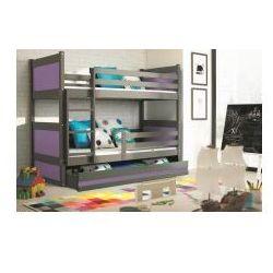 Łóżko piętrowe Rico grafit dwuosobowe 90x200 z materacami