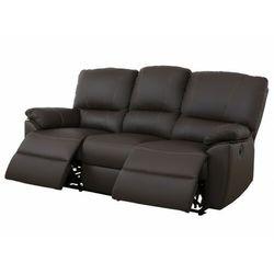 3-osobowa skórzana sofa z elektrycznie regulowaną funkcją relaks marcis - czekoladowy marki Vente-unique