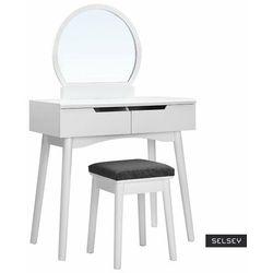Selsey toaletka gaga biała z okrągłym lustrem i stołkiem (5903025228198)