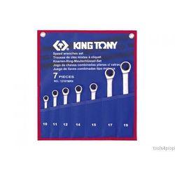 ZESTAW KLUCZY PŁASKO-OCZKOWYCH Z GRZECHOTKĄ JEDNOKIERUNKOWĄ 7cz. 10 - 19mm King Tony 12107MRN, 12107MRN