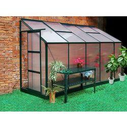 Vente-unique Szklarnia ogrodowa z poliwęglanu dostawiana do budynku o pow. 3,7 m² calice ii z podstawą - zielona