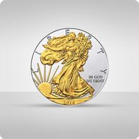 The united states mint Amerykański orzeł 1 uncja srebra platerowana złotem