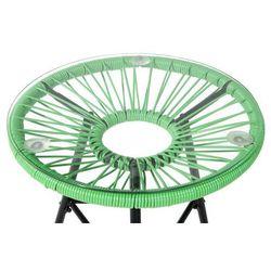 Beliani Meble rattanowe stół z 2 krzesłami zielone acapulco