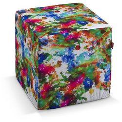 pufa kostka twarda, kolorowe mazaje na białym tle, 40x40x40 cm, new art marki Dekoria