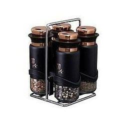 Berlinger Haus 5-częściowy zestaw pojemników na przyprawy w stojaku Black Rose Collection, 118761