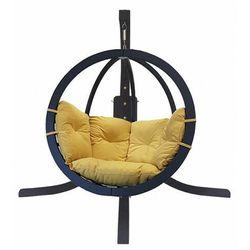 Ogrodowy fotel wiszący z żółtą poduszką - Parys 4X