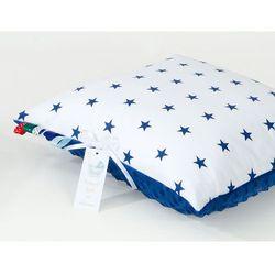 poduszka minky dwustronna 40x40 gwiazdki granatowe na bieli / modrak marki Mamo-tato