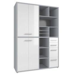 Regał biurowy set+ 216x155 cm, szary-biały, mdf, 16896346 marki Maja-möbel