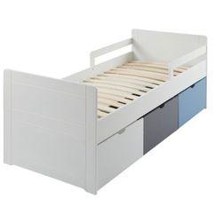 Łóżko z 3 szufladami pilou - 90 × 190 cm - mdf biały, szary, niebieski marki Vente-unique