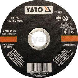 Tarcza do cięcia metalu 115x1,2x22 mm / YT-5920 / YATO - ZYSKAJ RABAT 30 ZŁ (5906083959202)