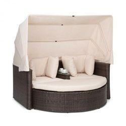 Blumfeldt Heartland, 2-osobowa sofa wypoczynkowa, ze stolikiem, stołkiem, dachem przeciwsłonecznym, szara (4060656226113)