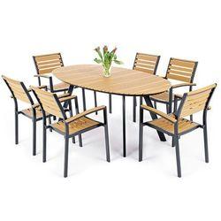Meble ogrodowe  419959 lorenzo aluminiowe czarno-teak, marki Home&garden