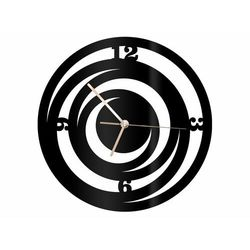 Zegar z pleksi na ścianę Spirale ze złotymi wskazówkami, kolor czarny