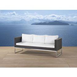 Sofa ogrodowa brązowa - trzyosobowa - stal szlachetna i rattan - crema, marki Beliani