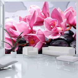Fototapeta - kwiaty orchidei i kamienie zen marki Artgeist