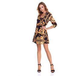 Sugarfree Sukienka donatella czarna w żółte wzory