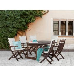 Stół + 6 krzeseł z podłokietnikami + 6 beżowych poduszek - MAUI - produkt z kategorii- Zestawy ogrodowe