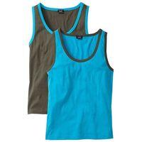 Bonprix Koszulka bez rękawów (2 szt.)  turkusowy + ciemnooliwkowy