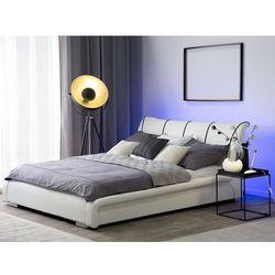 Łóżko skórzane LED 140 x 200 cm białe NANTES