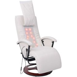 vidaXL Fotel masujący do masażu sziatzu 50% PU biały
