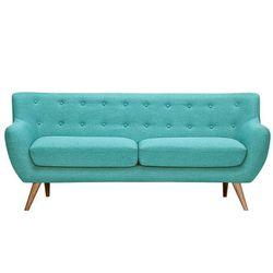 Sofa 3-osobowa z tkaniny SERTI - Kolor turkusowy z dopasowanymi dekoracyjnymi guzikami
