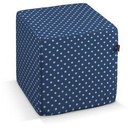 Dekoria Pufa kostka twarda, białe gwiazdki na granatowym tle, 40x40x40 cm, Ashley, kolor niebieski
