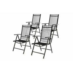 Komplet ogrodowy 4 składanych krzeseł - czarny