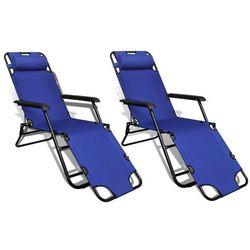 Regulowane, składane leżaki z podnóżkami, 2 szt.